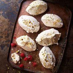Caardamom, salted pistachio and rose meringues
