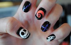 Nightmare Before Christmas Nail Tutorial