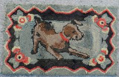 Antique Folk Art Pictorial Hooked Rug Colorful Happy Puppy Dog Needs TLC | eBay