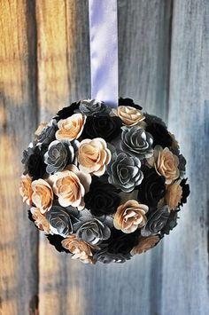 Black White Silver Pomander Flower Ball