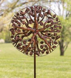 Buy Wind & Weather Outdoor Tree of Life Metal Kinetic Sculpture Garden Wind Spinner, 24 Dia. x D x 75 H, Antique Copper Finish