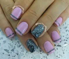 French lines with a heart nails.