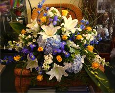 Funeral flower arrangements and sympathy flowers from Centerpiece Florist in Essex Junction, VT. Funeral Flower Arrangements, Funeral Flowers, Funeral Sprays, Casket Sprays, Funeral Memorial, Sympathy Flowers, Cemetery, Memorial Services, Centerpieces