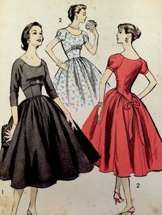 1950's Vintage Empire Full Party Dress Advance Sewing Pattern 8092