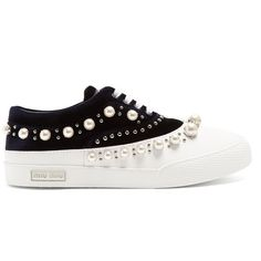Miu Miu Faux pearl-embellished velvet and rubber trainers ($950) ❤ liked on Polyvore featuring shoes, sneakers, blue white, print sneakers, velvet shoes, saddle shoes, studded sneakers and mirror shoes