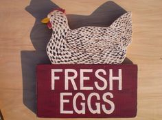 Speckled Hen / Chicken Fresh Eggs Sign by mulberrylanefolkart, $52.95