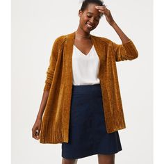 LOFT Chenille Open Cardigan (560 MAD) ❤ liked on Polyvore featuring tops, cardigans, autumn ochre, long sleeve drape top, open cardigan, drape top, loft tops and open drape cardigan