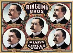 Ringling Bros. Kings Of The Circus World. Alf. T. Ringling Al. Ringling Chas. Ringling John Ringling Otto Ringling Shown are the 5 Ringling Brothers. Poster originally published 1905 by The Strobridge