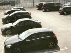 Lots of black vehicles in our car park #car #carsblackcars