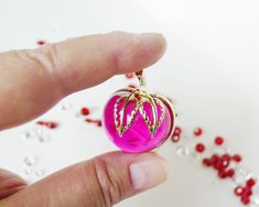 Jelly Belly Fruit Pin, Free Shipping, Vintage Jewelry, Sarah Coventry Brooch, Fuchsia Pink, Lucite J