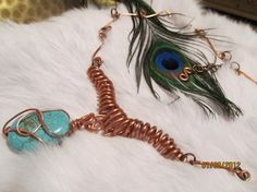 turquoise and solid copper necklace on sale