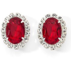 Red Oval Stud Earrings Siam (€11) found on Polyvore