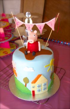 Peppa pig cake I made for my daughter's 3rd birthday