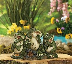 Laughing Frogs Resin Garden Statue Yard Decor Home Accent NEW TVI6-1653J14