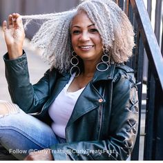 Mildred Bean is a health and beauty influencer whose page is full of advice on how she takes care of and styles her natural silver hair. Whatever she does to her hair, she does right. We love her luscious curly locks! Beautiful Old Woman, Beautiful Black Women, Simply Beautiful, African Hairstyles, Afro Hairstyles, Gray Hairstyles, Curly Hair Styles, Natural Hair Styles, Curly Gray Hair