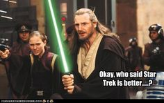 Star Trek vs. Star Wars. I like the two but this is funny!!!