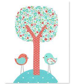 Bird Nursery Art Aqua and Coral Nursery by SweetPeaNurseryArt