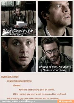 I don't even ship Destiel, but this was too brilliant not to repost (and, to be honest, I just miss Chuck lol)