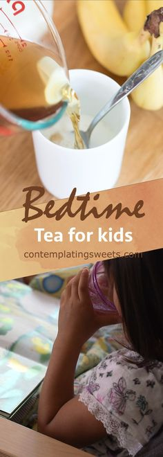 This simple tea is easy to make and perfect for settling down at the end of the day. Chamomile is mixed with banana, which has natural calming properties, to make a naturally sweetened kids bedtime tea.
