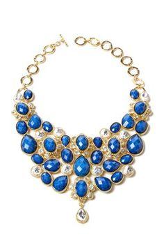 Lapis & Crystal South Fork Bib Necklace