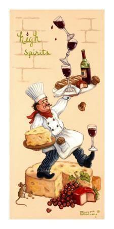Whimsical Chef High Spirits by Janet Kruskamp - Original paintings for sale by the artist Art Du Vin, Chef Pictures, Art Encadrée, Original Paintings For Sale, Food Painting, Pintura Country, Wine Art, In Vino Veritas, Decoupage Paper