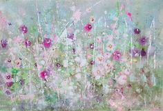 hollyhocks Shabby Chic Interiors, Shabby Chic Decor, Shabby Chic Painting, Hollyhock, Diy Home Crafts, Bath Accessories, Watercolor Art, Painting Classes, Floral Paintings