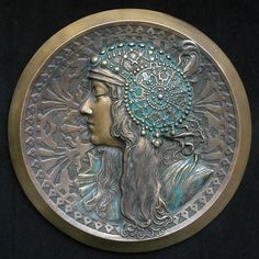 Authentic Alphonse Mucha Tete Byzantine Metal Bas Relief c. Art Deco, Art Nouveau Design, Belle Epoque, Azulejos Art Nouveau, Alphonse Mucha Art, Coin Art, Academic Art, Art Nouveau Jewelry, Statues
