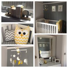 LOVE the owl pillow and bookends! Grey and Yellow chevron nursery