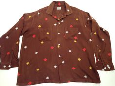 Cool 1950's Men's Large Chocolate Rayon Printed Shirt with White, Red & Yellow Checks // Loop Collar...
