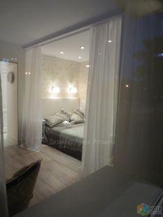 Зонирование комнаты, спальня в нише