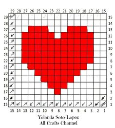 Crochet Heart – Easy (corner to corner) Heart Square pattern – All Crafts Channel – Granny Square Graph Crochet, Crochet Squares, Crochet Stitches, Free Crochet, Granny Squares, Heart Granny Square, Crochet Afghans, Crochet Blankets, Easy Crochet