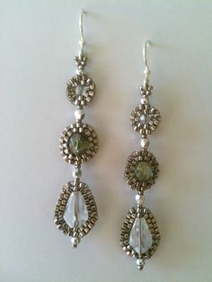 Silver & clear circle and drop earrings by Jeka Lambert.  Seed bead woven.  Seed beads, glass beads.