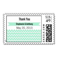 Magic Mint and White Chevron Pattern Thank You Postage
