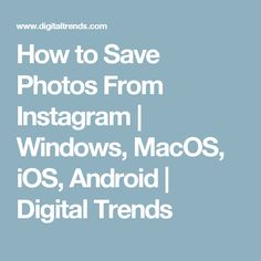 How to Save Photos From Instagram | Windows, MacOS, iOS, Android | Digital Trends