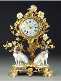 A LOUIS XV ORMOLU AND MEISSEN PORCELAIN MANTEL CLOCK MID-18TH CENTURY
