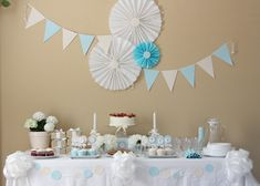 Dessert Table at a Communion Christening Party, Baptism Party, Baby Party, Baby Shower Parties, First Communion Party, First Holy Communion, Baptism Decorations, Diy Party Decorations, Birthday Diy