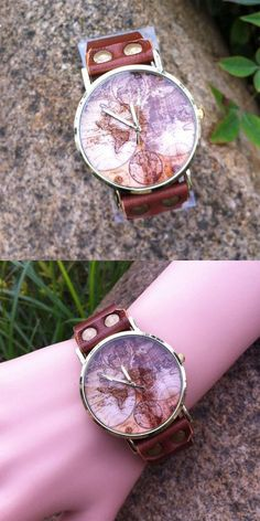 Retro Handmade World Map Leather Watch for big sale ! #world #map #Leather #watch #retro