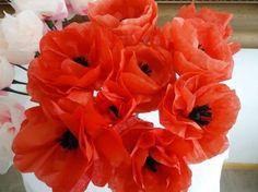 Flores de papel de seda: fotos ideas DIY - Flores en forma de amapolas de papel