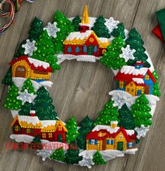 Bucilla Snow Village Wreath ~ Felt Christmas Home Decor Kit Church Trees in Crafts, Needlecrafts & Yarn, Embroidery & Cross Stitch Christmas Wall Hangings, Felt Christmas Decorations, Felt Christmas Ornaments, Christmas Wreaths, Christmas Lights, Beaded Ornaments, Christmas Stocking Kits, Christmas Sewing, Christmas Home