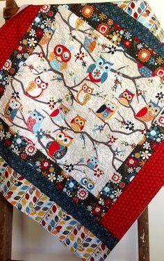 Scandinavian Owls on Branches Blue Red Gray Orange Green Modern Baby Quilt