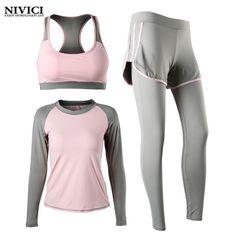 3 Piece Women Yoga Suit Set Sports Bra Long Sleeve Long Pants Sportswear Fitness Clothing Gym Breathable Sportswear For Women