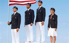 (L-R): U.S. Olympic athletes swimmer Ryan Lochte, decathlete Bryan Clay, rower Giuseppe Lanzone and soccer player Heather Mitts modelling the the official Team USA uniform Photo: AP