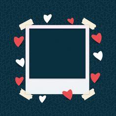 Plantilla de marco de fotos con corazón Vector Premium Creative Instagram Stories, Instagram Blog, Instagram Story Ideas, Polaroid Picture Frame, Polaroid Pictures, Picture Templates, Collage Template, Framed Wallpaper, Iphone Wallpaper