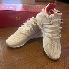 d18891e5bb411 Shop Women s adidas White Red size 5 Athletic Shoes at a discounted price  at Poshmark. Description  Adidas EQT ADV Chinese New Years Edition Size 5  (youth ...