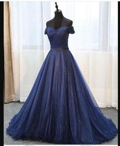Deep blue Off Shoulder Long Tulle Prom Dress, Evening Dress from Sweetheart Dress, Tulle Ball Gown, Ball Gowns Prom, Tulle Prom Dress, Prom Dresses Blue, Cheap Prom Dresses, Quinceanera Dresses, Party Gowns, Day Dresses, Evening Dresses