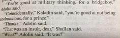 Stormlight Archives. I love these three! --- Shallan, Adolin, and Kaladin