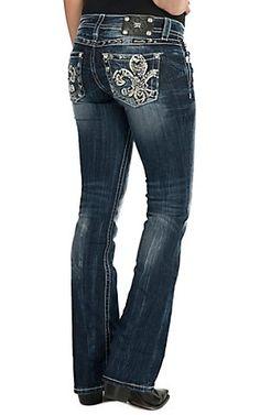 Miss Me Women's Dark Wash Flirty Fleur Open Pocket Boot Cut Jean