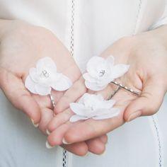 Bridal Hair Pins, White Bobby Pin Set, Ivory Hair Flowers, Floral Wedding Hair Accessories, Hydrangea Bobbies, Romantic, Elegant, Simple on Etsy, $30.00