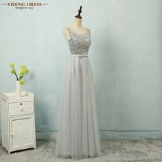 7b9b0bf41e951 YIDINGZS Gray Sexy A Line Tulle Beading Prom Dresses 2018 Formal Long Evening  Party Dress Sleeveless-in Prom Dresses from Weddings   Events on ...