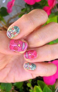 Colorful Sugar Skull Nail Decals